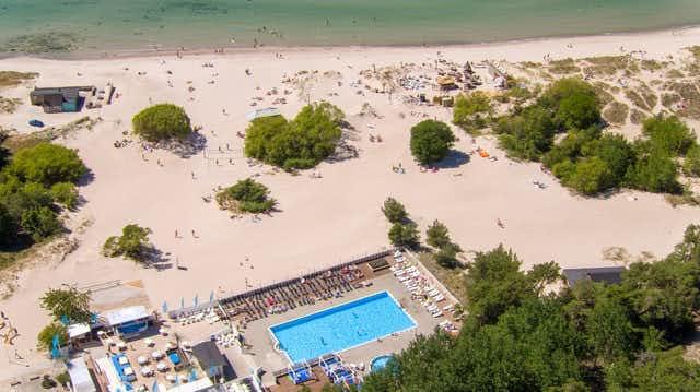 Tofta strand och pool från ovan