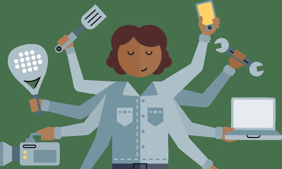 Illustration av en kvinna/företagare som har flera armar att jobba med samtidigt.