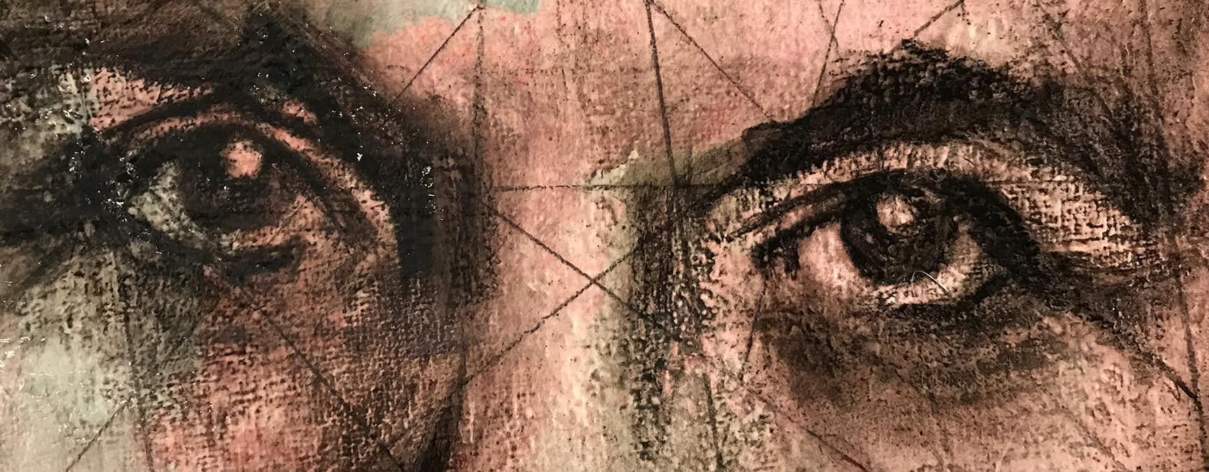 Målning föreställande ett kvinnoansikte. Ögonen är i fokus.